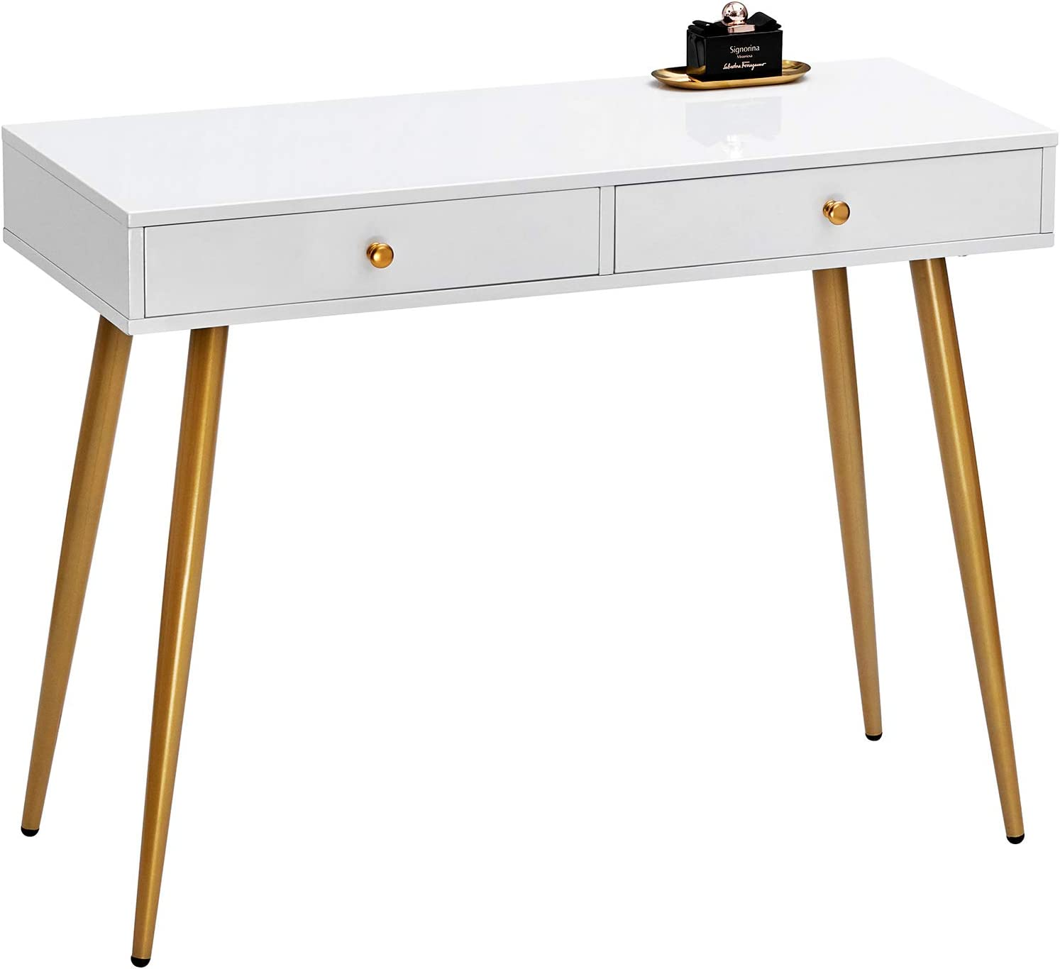 GreenForest Vanity Desk, Makeup Table with Glossy White Tabletop and 2 Drawers, Modern Home Office Computer Desk with Golden Legs