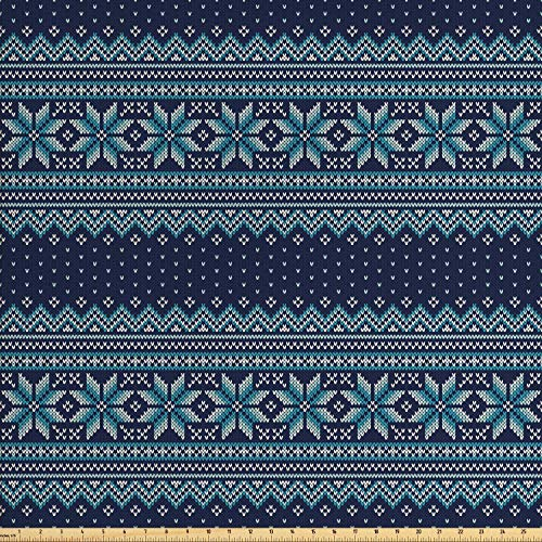 Ambesonne Nordic Fabric by The Yard, Festive Knitted Pattern with Chevron Herringbone Abstract Snowflake, Decorative Fabric for Upholstery and Home Accents, 1 Yard, Dark Blue Turquoise White