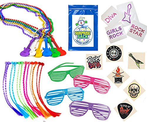 Extreme Rock Star Party Favor Pack (12 Glasses, 12 Neon Braid Hair Attachments , 12 Beaded Guitar Necklaces, 12 Jewel Rock Star Diva Tattoos, 72 Rock Star - Colorful Star Rock