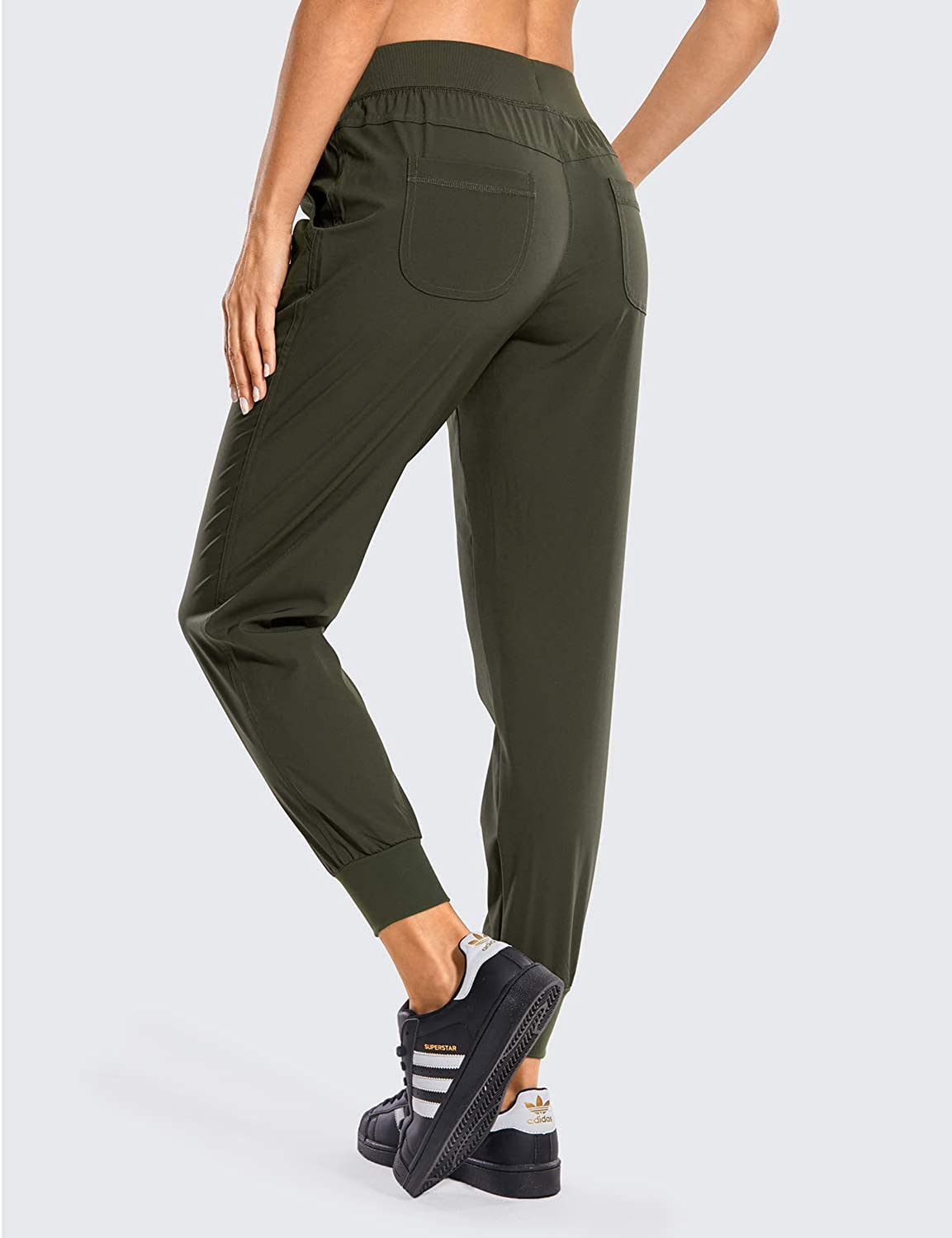 CRZ YOGA Women's Lightweight Joggers Pants with Pockets Drawstring Workout Running Pants with Elastic Waist: Clothing