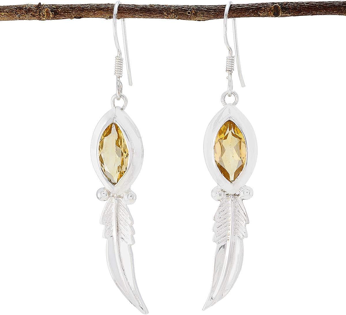 joyas plata citrino natural piedras preciosas con forma de marquesa pendiente exclusivo de plata esterlina facetado