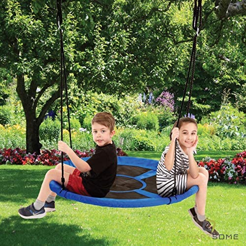 Smartsome Flying Saucer Tree Swing – 40 Inch Redesigned Tire Swing for Hours of Outdoor Fun, Patented Quick and Easy Assembly, Great Kids Swing for Trees Or Playsets. Blue