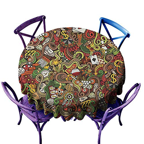 ONECUTE Resistant Table Cover,Casino Doodles Style Artwork of Bingo and Cards Excitement Checkers King Tambourine Vegas,Stain Resistant, Washable,50 INCH Multicolor