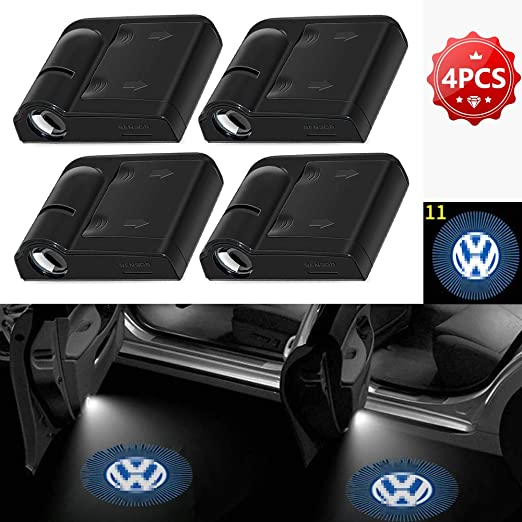Zobir LED Car Door Shadow Light Puddle Welcome Projector Courtesy Welcome Lights Ghost Shadow Lights Emblems for Volkswagen Door Entry Light 4pcs