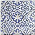 """SomerTile FGAKAL4 Carriere Quarry Floor & Wall Tile, 12.75"""" x 12.75"""", Alcazar Magnolia,,, Blue, White by SomerTile"""