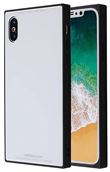 quality design 42907 45f22 Square iPhone X, Chic Tempered Glass Case Retro Classic Stylish Cover  Square Shockproof Protective Back Case for iPhone X/iPhone 10 (White)