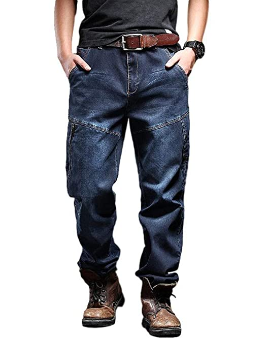 Idopy Pantalones Vaqueros de Carga para Hombres Ropa de ...