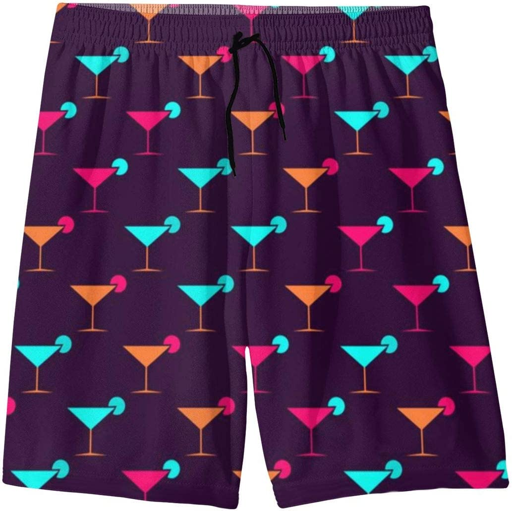 LIXIUMEI Martini Glasses Seamless Pattern Multi-Colored Mens Summer Drawstring Beach Shorts,3D Print Quick Dry Beach Pants,Casual Shorts Slim Fit Drawstring Summer Beach Shorts with Elastic Waist
