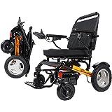 2019折り畳み電動車椅子(強力モータ付きコンパクトで軽量型、バッテリ含め23.6kg、120kg荷重対応可能) オレンジ色