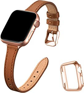 STIROLL Slim Leather Bands Compatible with Apple Watch Band 38mm 40mm 42mm 44mm, Top Grain Leather Watch Thin Wristband for iWatch SE Series 6/5/4/3/2/1 (Brown with Rose Gold, 38mm/40mm)