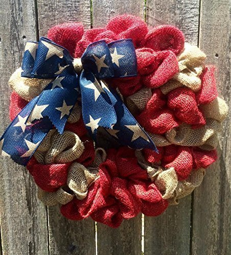Burlap American Flag Wreath USA United States of America Red White Blue Burlap door hanger