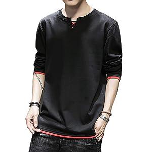 RanSy メンズ Tシャツ 長袖 トップス クルーネック 綿 無地 カットソー ファッション カジュアル 快適 春秋 黑 L