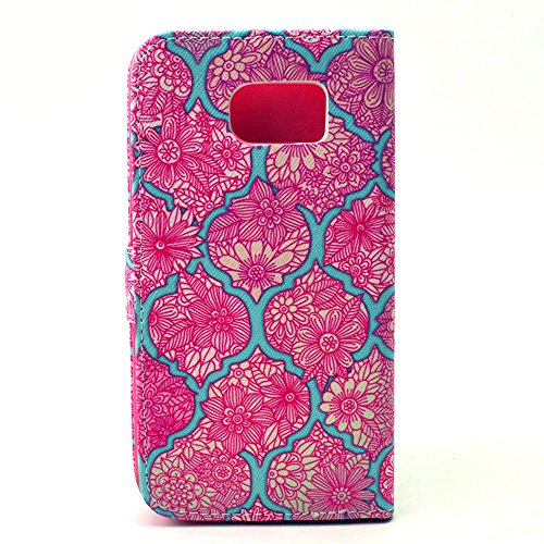 S6 Edge Case, Galaxy S6 Edge Case,M-Zebra Samsung Galaxy S6 Edge Wallet Case [Wallet Function] Flip Cover Leather Case for Samsung Galaxy S6 Edge, with Screen Protectors+Stylus+Cleaning Cloth (Pink Flowers)