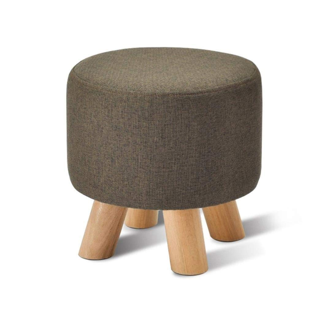 CS-JZ Shoe Stool, Washable Linen Seat Cushion Round Footstool, Wooden 4 Legs Round Dustproof, Bearing Gravity 100KG 29X29X27CM by CS-JZ