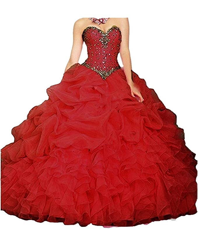 Review Onlybridal Women's Beaded Organza Ball Gown Sweet 16 Dresses Quinceanera Dresses