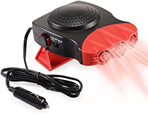 Portable Car Heater, Auto Electronic Heater Fan Fast Heating Defrost 12V 150W Car Heater, Plug Adjustable Thermostat in Cigarette Lighter, 2 in 1 Heating/Cooling Function 3-Outlet Car Heater