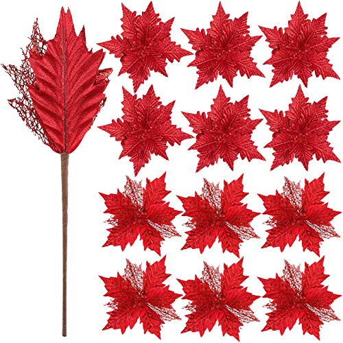 WILLBOND 12 Pieces Artificial Glitter Poinsettia Christmas Flower Ornaments Tree Decorations Artificial Christmas…