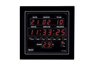 Ajanta Rectangle Plastic Wall Clock (25.4 cm x 3.5 cm x 25.4 cm, Black)