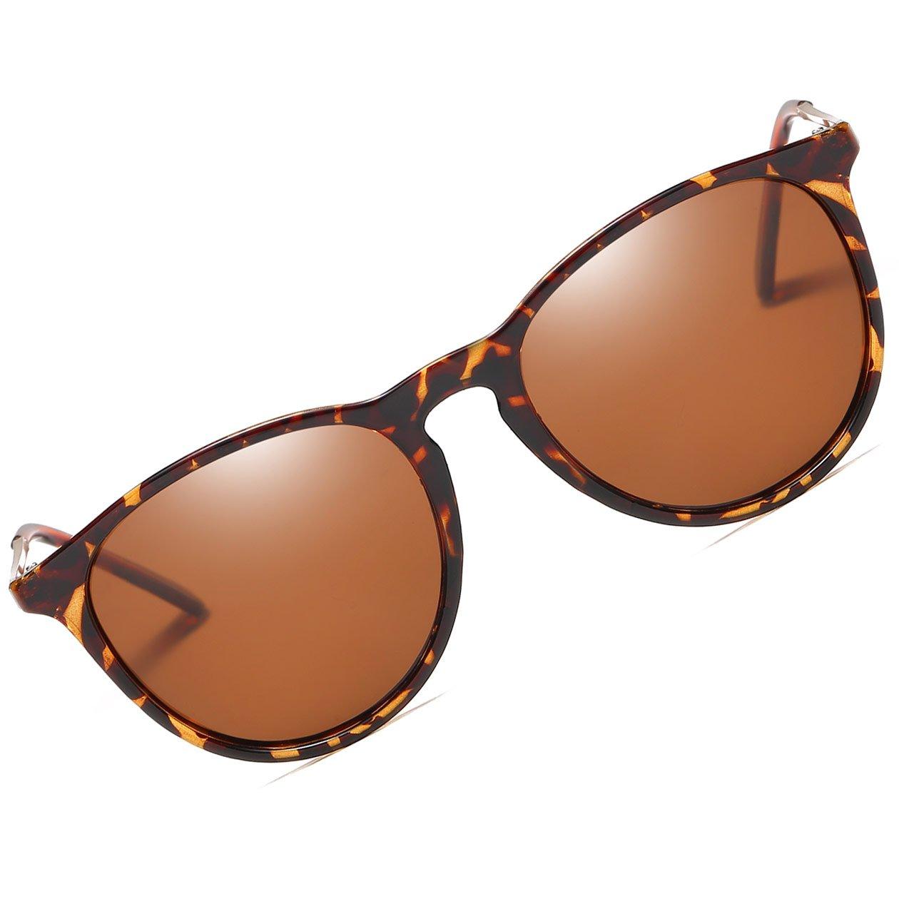 Vintage Round Sunglasses for Women Erika Retro Style Classic Polarized Mens Sunglasses (leopard/Brown)