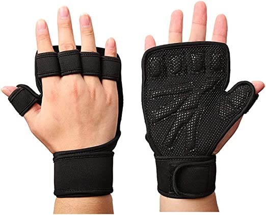 Black Leather Finger less Gloves Men Gym Training Weight Lifting Fitness NEW