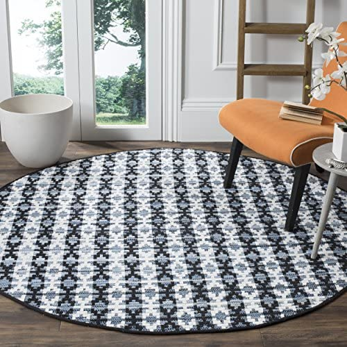 Safavieh Montauk Collection MTK123A Handmade Flatweave Ivory Blue and Black Cotton Round Area Rug 6 in Diameter