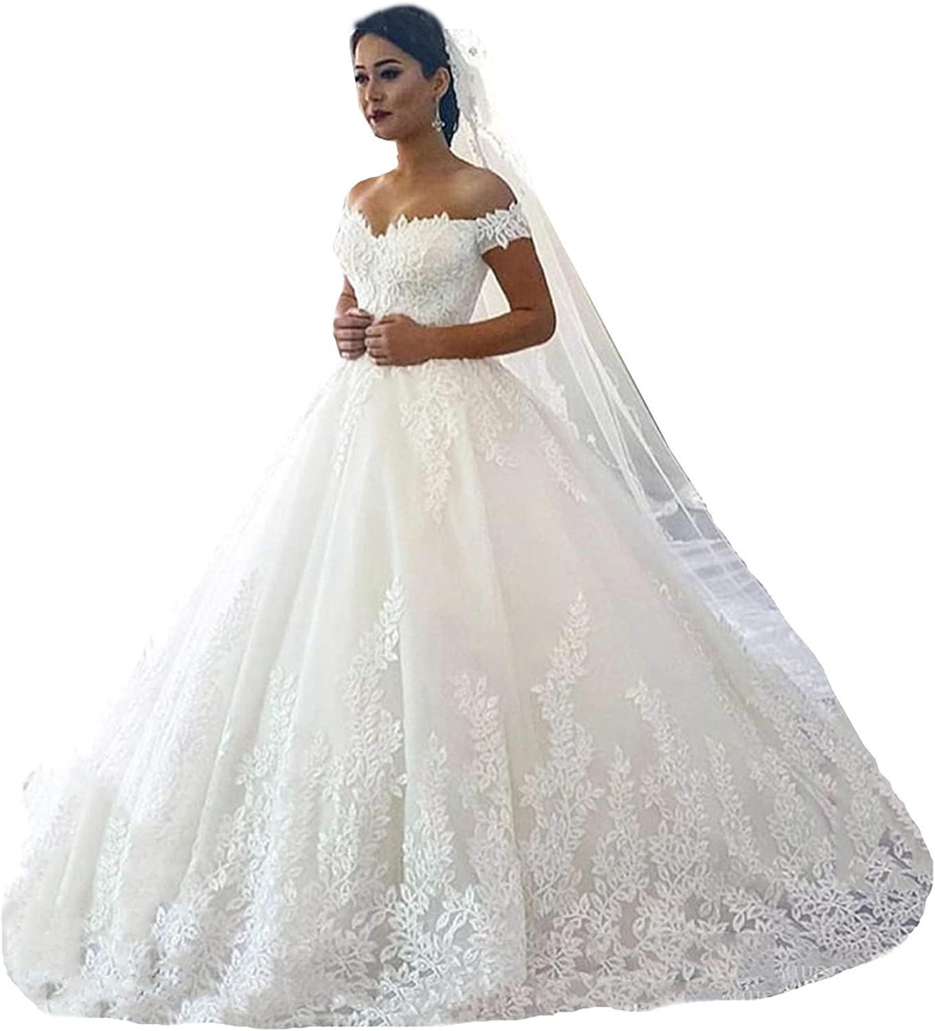 Amazon Com Fanciest Women S Lace Wedding Dresses For Bride 2021 Ball Gowns White Clothing