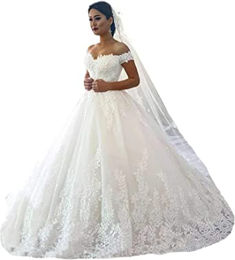 Amazon Com Fanciest Women S Lace Wedding Dresses For Bride 2020 Ball Gowns White Clothing
