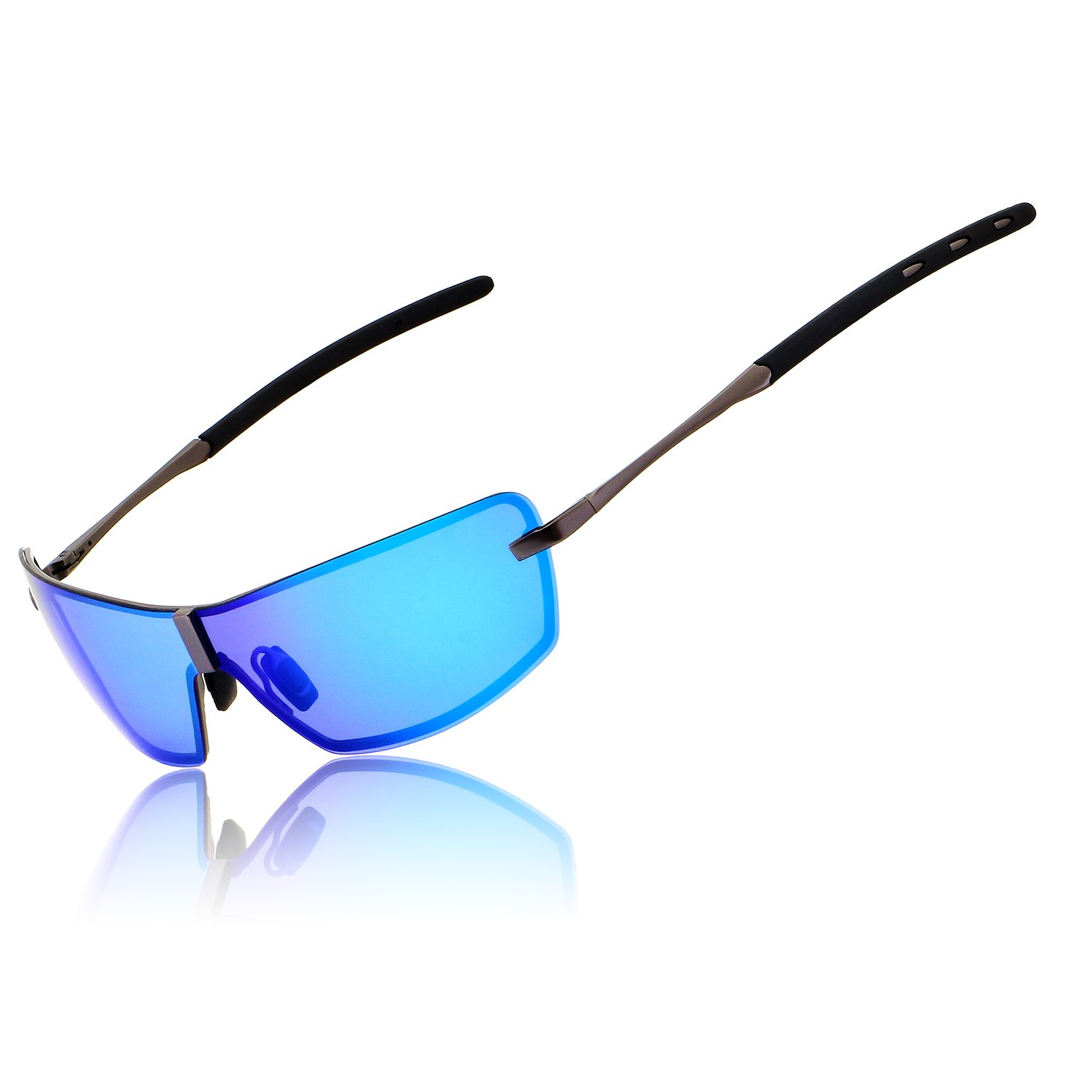 Ronsou Mens UV400 Polarized Sunglasses Mirrored For Driving Fishing Golf Outdoor with Gift Case gray frame/blue lens
