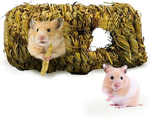 SunGrow Hand-Woven Seagrass Tunnel Toy, 7.5-inches Long and 4-inches Tall, Grass Tunnel House, Small Animal Activity Center, Perfect for Gerbils, Hamsters and Chinchillas