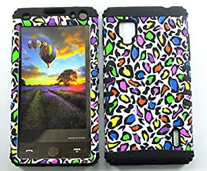 Cell-Attire Shockproof Hybrid Case For LG Optimus G, LS970 and Stylus Pen, Black Soft Rubber Skin with Hard Cover (Leopard Print) Sprint by runtopwell