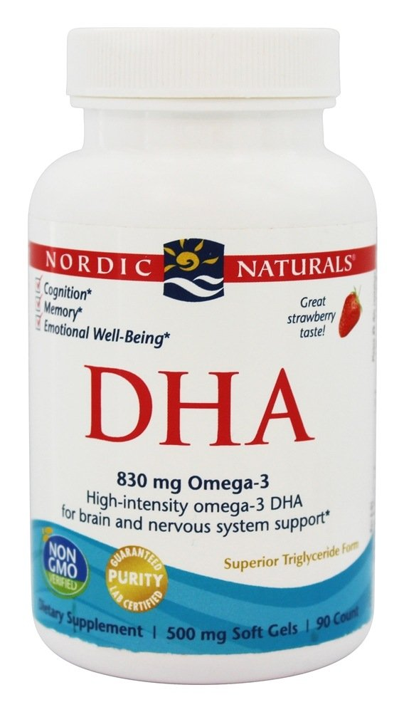 Nordic Naturals DHA Omega-3 - Brain and Nervous System Support Supplement, Strawberry Flavored, 180 Soft Gels by Nordic Naturals
