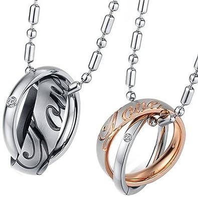"""JewelryWe - Colgante con 2 anillos de acero inoxidable se entrelazan con colgante grabado """""""