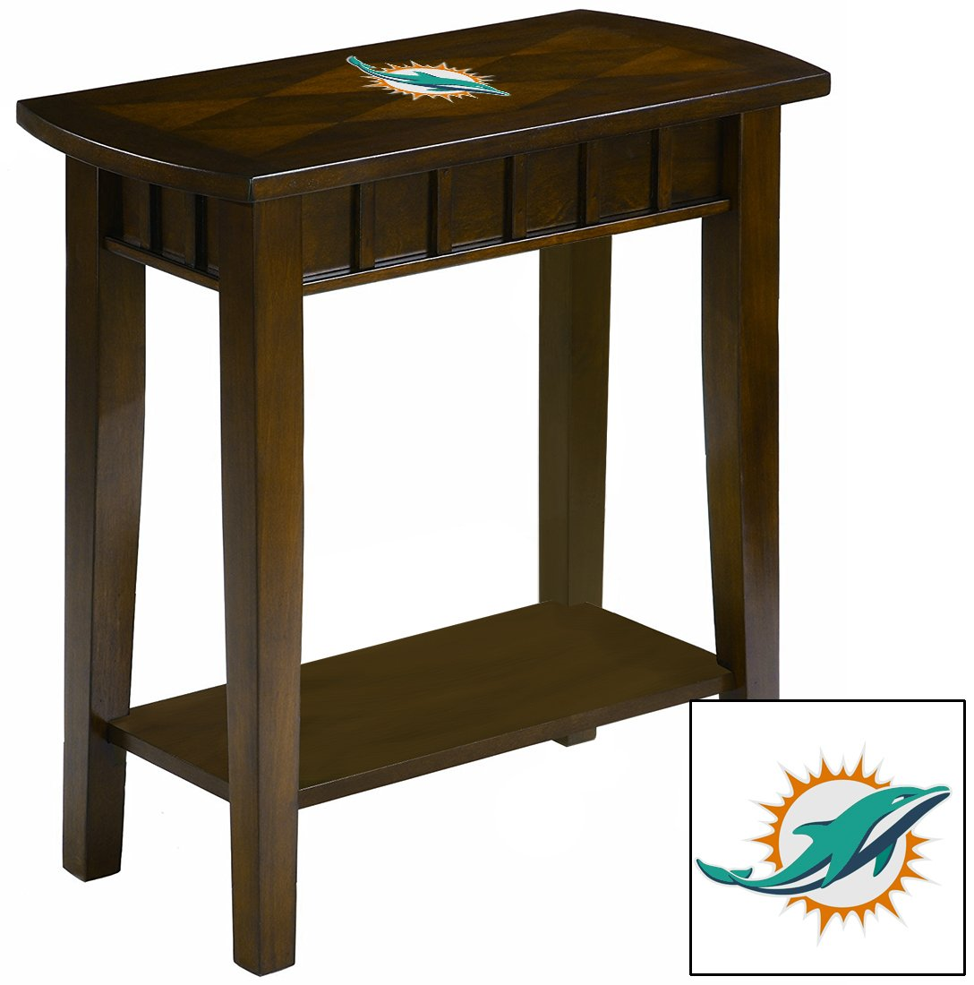 NEW! Chairside Table in an Espresso Medium Brown Finish Featuring the Choice of Your Favorite Football Team Logo! (Dolphins)