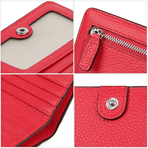ventana Id Pocket peque Wallet genuino Bloqueo de Pebble compactas cuero D foto con billetera mujeres billetera bifold Las y fold Bi as fR4HqTxySU
