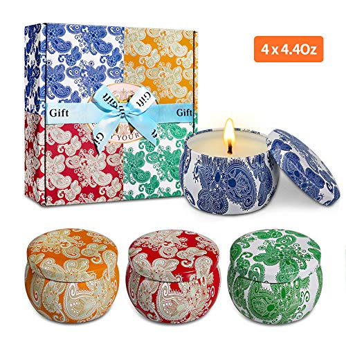 Scented Candles Gift Set, Natural Soy Wax Portable Travel Tin Candle Women Gift, Violet, Lavender, Cider Scent and Spring Fresh,for Stress Relief and Aromatherapy Set of 4 (4 x 4.4 Oz)