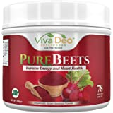 PureBeets | 100% Organic Pure Beet Root Powder | Best Value Beetroot Nitric Oxide Supplement | Beets Support Faster Recovery & Total Body Health - Viva Deo (17.5 oz, 78 Servings)