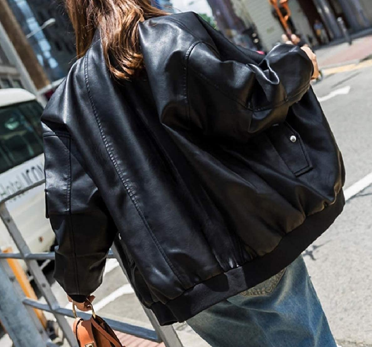 XiaoShop Womens Washed Zip Bomber Tops Outwear Oversized Leather Coat Jacket