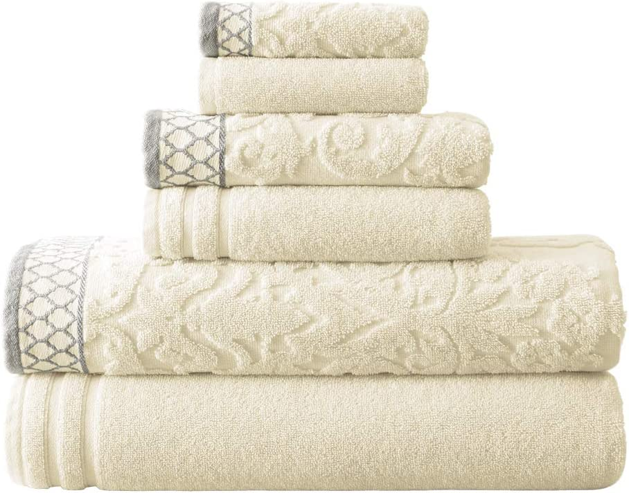 Amrapur Overseas 6-Piece Damask Jacquard/Solid Ultra Soft 550GSM 100% Combed Cotton Towel Set with Embellished Borders [Ivory]