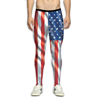 Fri Israeli American Flag Compression Pants/Running Tights Workout Leggings Men High Waist