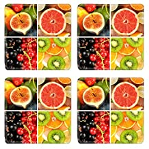 Liili Natural Rubber Square Coasters Image ID 35715275 Fruits and berries in colorful collage