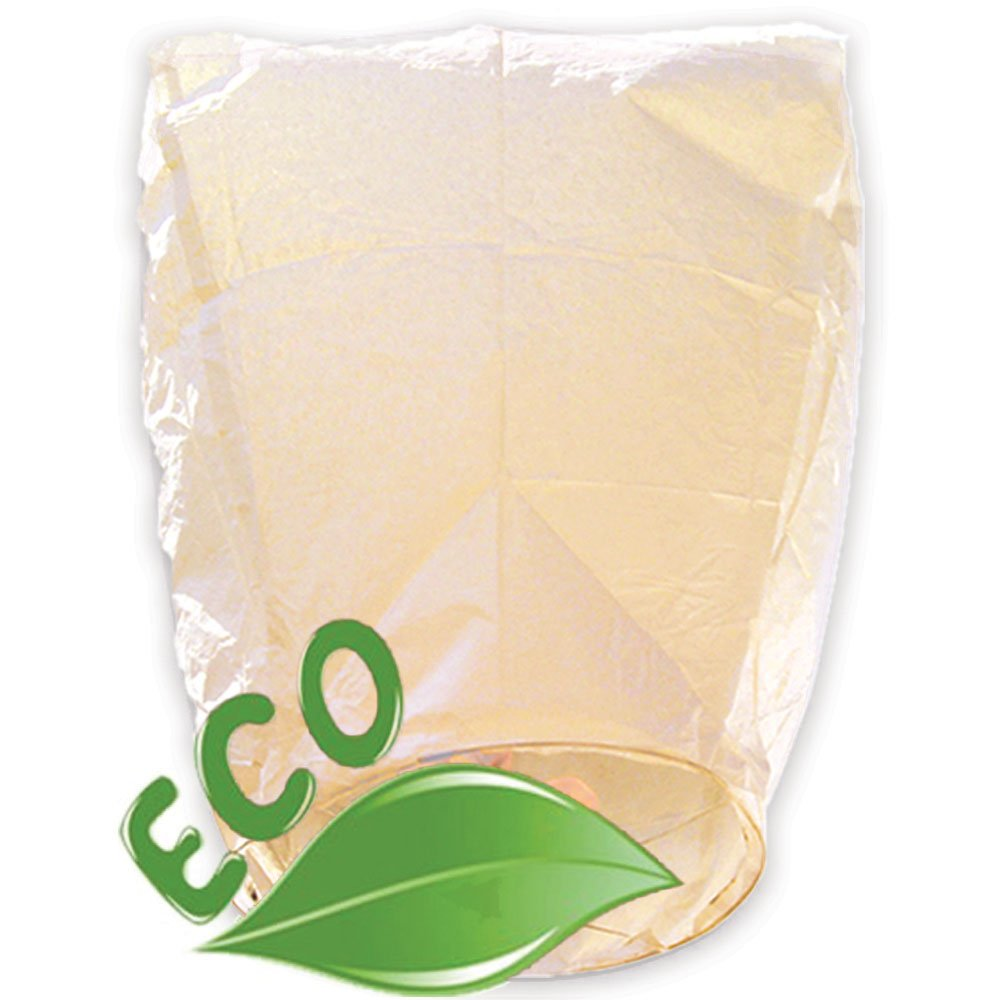 Just Artifacts ECO Wire-Free Flying Chinese Sky Lanterns (Set of 10, Eclipse, Ivory) - 100% Biodegradable, Environmentally Friendly Lanterns!