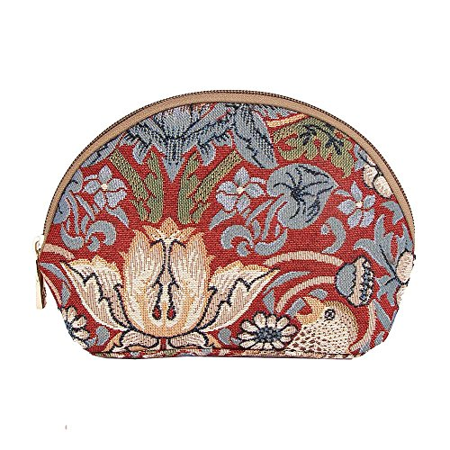 - Red Floral William Morris Strawberry Thief Tapestry Makeup Bag Travel Cosmetic Bag Brush Bag for Women Girls by Signare (COSM-STRD)