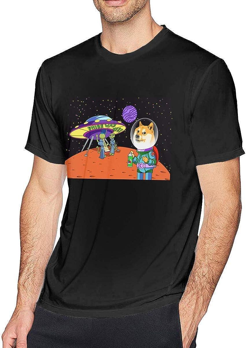 ADKASD Camisetas y Tops Mens Print Shibe Doge Astro and The Aliens Memes Cats Cartoon Logo T Shirts Black: Amazon.es: Ropa y accesorios