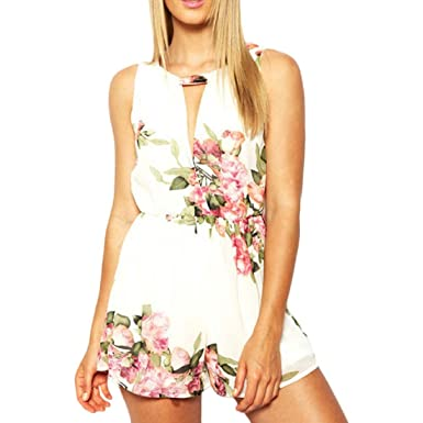 1c1be2c9ef60 Amazon.com  SMTSMT Women Floral Print Sleeveless Backless Chiffon Jumpsuit  Short Pant (S