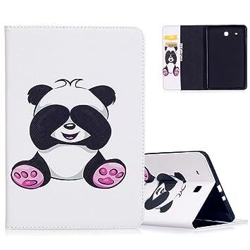 detailed pictures official shop wide varieties Aeeque Etui Tablette Samsung Tab E 9.6 Blanc Cute Panda Motif Flip Pochette  Etui en Cuir Anti Choc Housse de Protection avec Fonction Support Smart ...