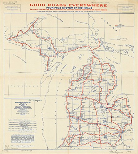Historic Map | Michigan Highways 1916 | Antique Vintage Reproduction 22in x 24in