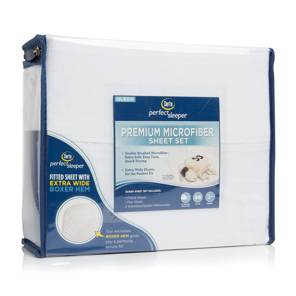 Serta Perfect Sleeper Premium Microfiber Sheet Set - Queen, White