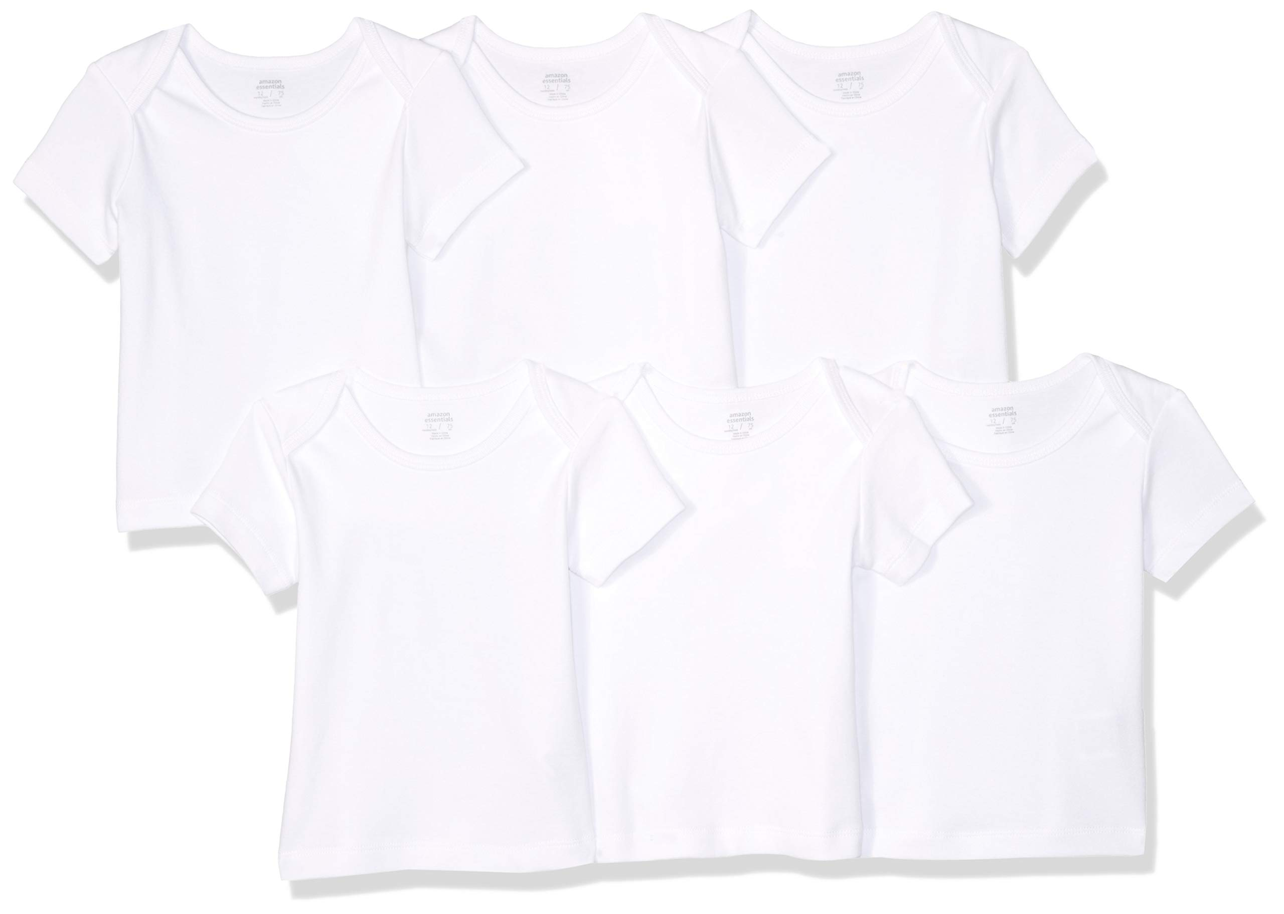 Amazon Essentials Baby 6-Pack Lap-Shoulder Tee, Solid White, 24M by Amazon Essentials