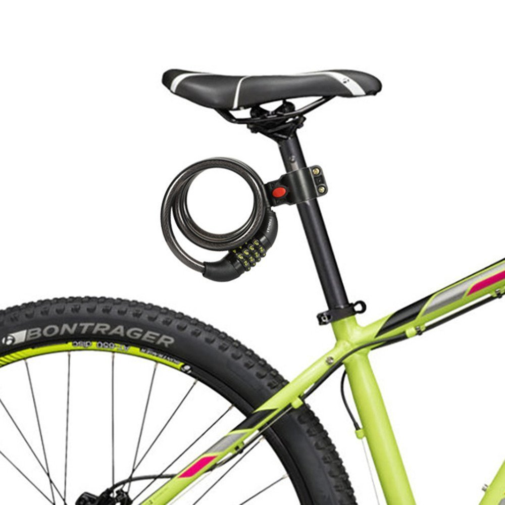 PAKA Bike Lock Cable, 4-Feet Bike Cable Basic Self Coiling Resettable 5 Digit Resettable Combination Cable Bike Locks with Complimentary Mounting Bracket, 5 Feet x 1/2 Inch