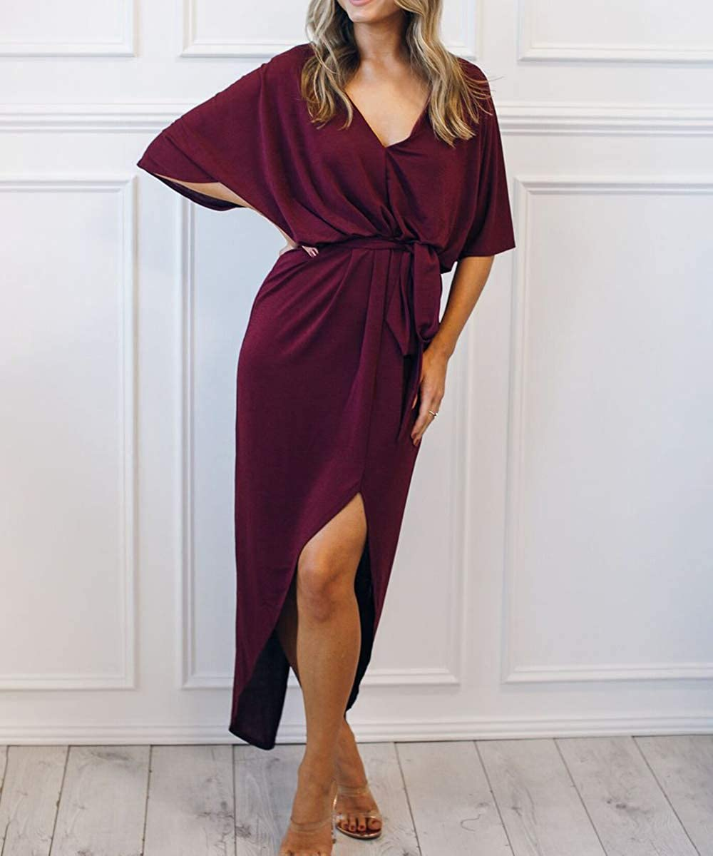 Red Wine Devon Aoki Women Casual Sexy Maxi Dress Spring Summer 2019 Style V Neck Ladies Dresses Womens Clothing AnkleLength Split Hem Dress Black
